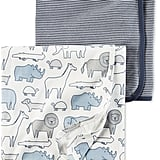 Stripes & Animals Cotton Swaddle Blankets