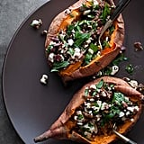 Baked Sweet Potato Stuffed With Feta, Olives and Sun Dried Tomatoes