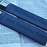 For the Grandparents Who Love to Read: Engraved Leather Bookmark With Watch
