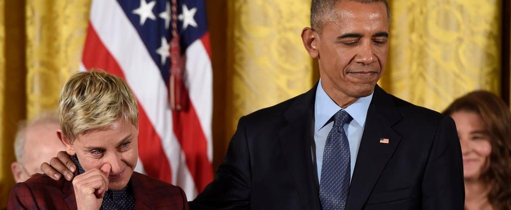 Ellen DeGeneres Tears Up During the Presidential Medal of Freedom Ceremony