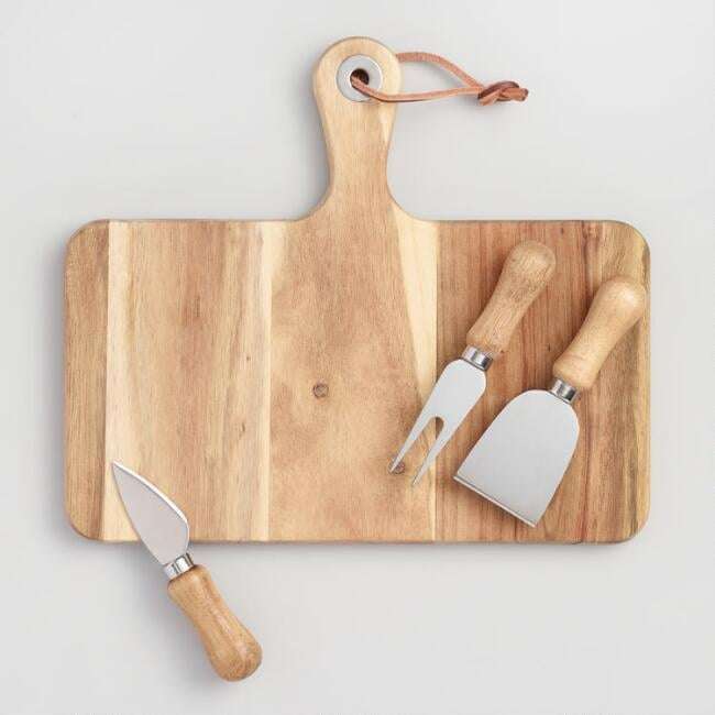 World Market Cheese Knives and Cutting Board 4 Piece Set