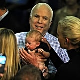 Then-presidential candidate John McCain and his wife, Cindy, held an itty-bitty baby at a 2008 event in Zanesville, OH.