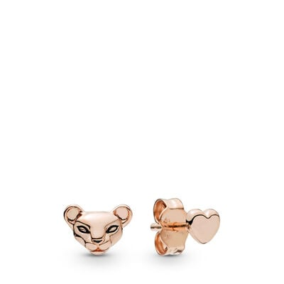 Pandora Lion Princess & Heart Earrings