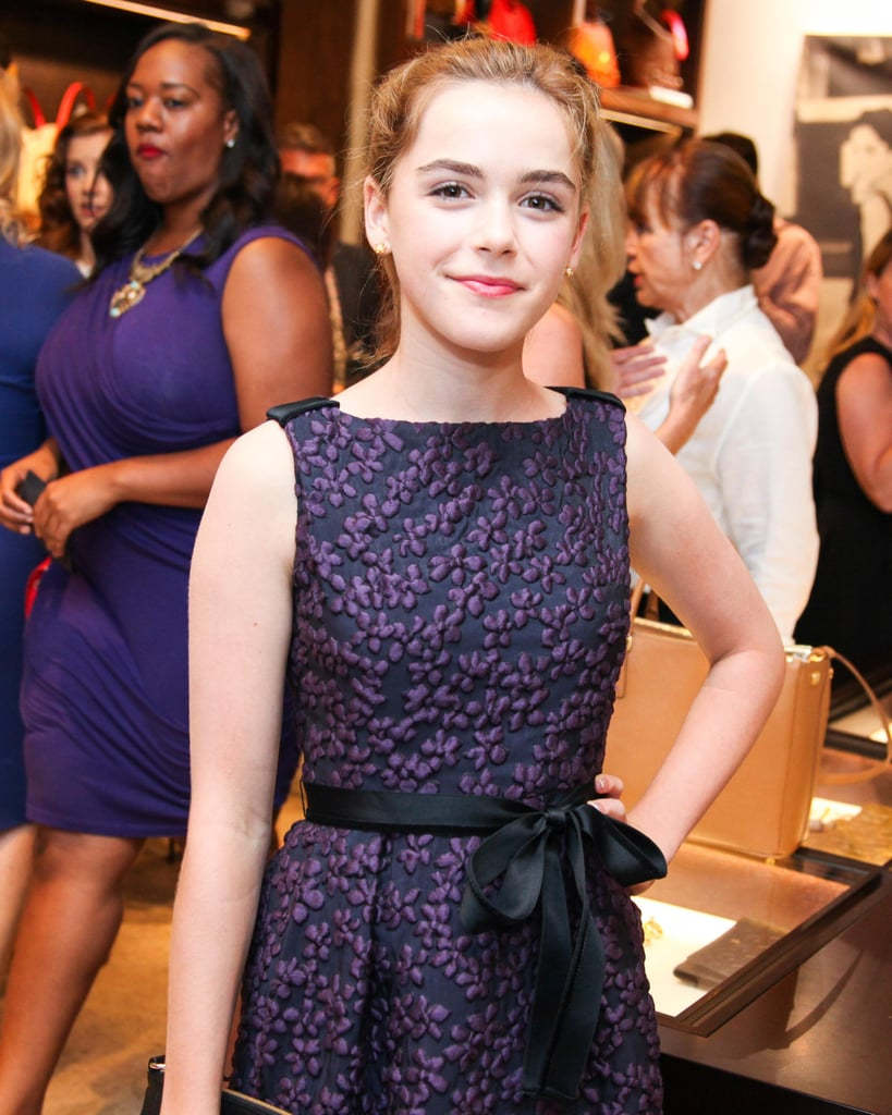Always the mini fashion plate, Kiernan Shipka paired her bold brows with neutral makeup and some pink gloss on her lips.