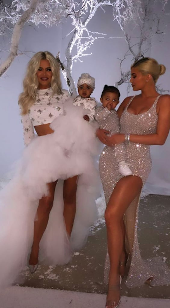 "When it comes to Christmas parties, few can top the Kardashian-Jenner family's. Every year, the brood pulls out all the stops for their Christmas Eve bash, and on Monday, Kim and Kanye West had the honor of hosting it at their Calabasas, CA, home. The bash brought out the family's nearest and dearest, including Kendall, Kourtney, Khloé, Kris, and Kylie and pals Paris Hilton, Jennifer Lopez, Alex Rodriguez, Kimora Lee Simmons, Chrissy Teigen, and John Legend, who performed songs from his Christmas album, A Legendary Christmas. Scott Disick's girlfriend, Sofia Richie, even made an appearance after returning from her Mexico trip with Kourtney, Scott, and their kids.  Kim and Kanye basically transformed their home into a Winter wonderland featuring artificial snow, an igloo, a sled setup, and tons of desserts. ""The West residence party is a winter wonderland with a huge mountain,"" Kim said on Instagram. ""It's literally Calabasas turned into Colorado."" That same day, the family debuted their annual Christmas card on Instagram. The sweet photo includes Kourtney, Khloé, Kim, and Kylie with their children and brother Rob's daughter, Dream. However, missing from the fun were Kendall, Kanye, Travis Scott, Tristan Thompson, Rob, and Kris Jenner. According to Kim, the entire photo shoot was ""last minute"" due to their busy schedules and they tried to include as many relatives as possible. Thankfully, they were able to make it work!      Related:                                                                                                           Warning: You're Not Ready For These Adorable Snaps of Kim Kardashian and Kanye West's Kids"