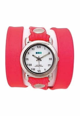 La Mer Collections Silver Round Watch in Neon