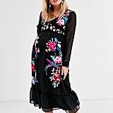 ASOS Design Maternity Embroidered Dress With Pephem