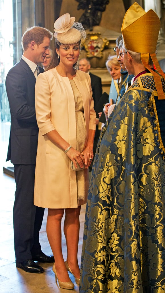 Kate Middleton attended Queen Elizabeth II's 60th coronation anniversary service at Westminster Abbey in London in June 2013.