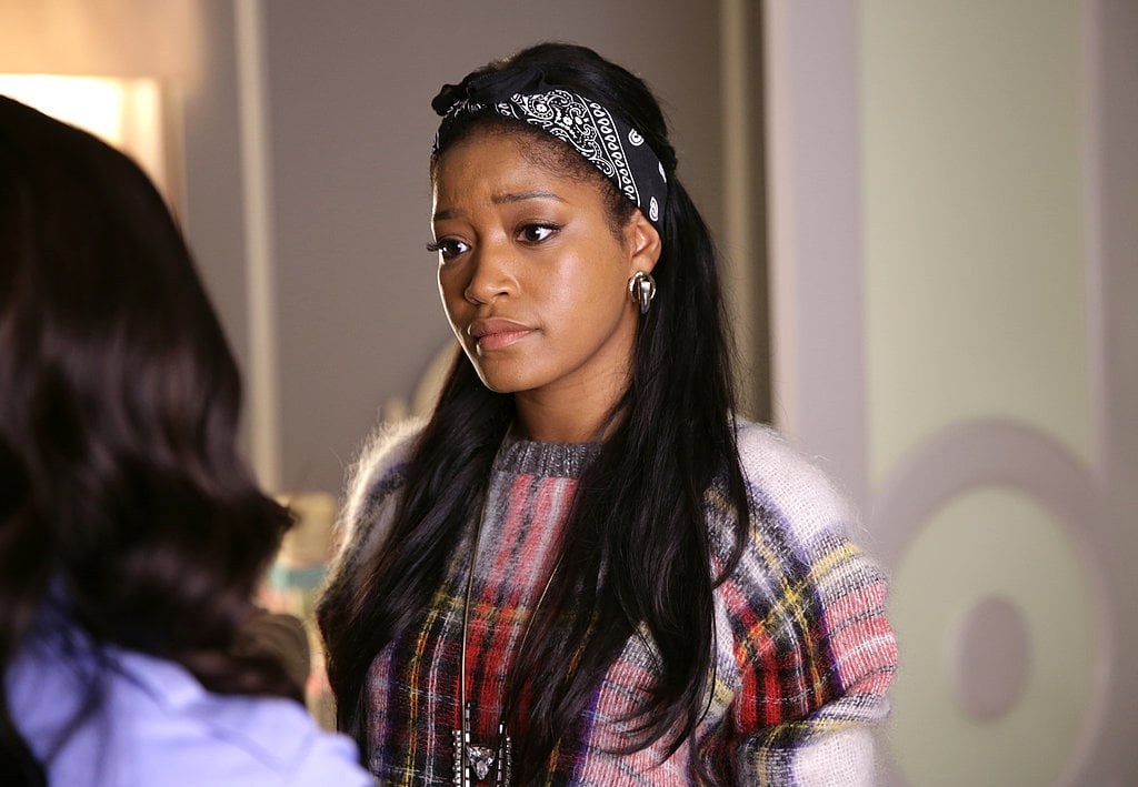 The character: Zayday Williams (Keke Palmer)  Her hair look: Shiny long layers  Johnson's tips: This style is all about the blowout! Spritz wet hair with Hask Express Blow Dry Spray ($7) to lessen drying time and then section off hair leaving out only the bottom portion to start. Using a boar bristle round brush (for extra shine!), dry small sections of hair starting from root to tip. For extra body and that coveted curl at the end, when hair is dry but still warm, wrap small sections in velcro rollers and let it set while you do your makeup or pick out your outfit. Remove the rollers, flip hair upside down, apply a drop of shine oil for extra gloss, and you've got a sleek, polished look.