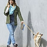 Drew Barrymore wore her engagement ring while walking her dog.