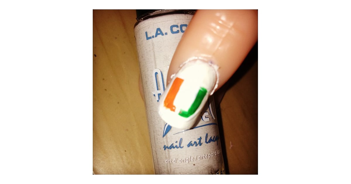 University of Miami | School Spirit Nail Art | POPSUGAR Beauty Photo 13
