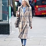 Above Open-Toe Boots, Under a Longline Coat