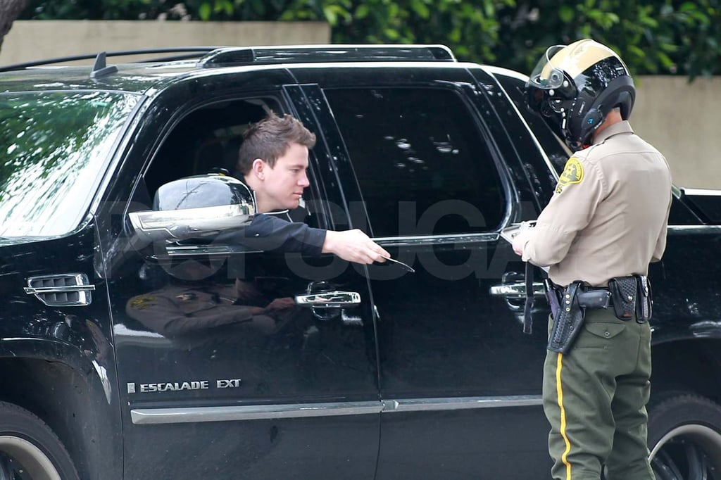 Channing Tatum was stopped by a police officer in LA today. He was apparently pulled over for talking on his cell phone and not wearing his seatbelt, and it looks like the actor was issued a ticket for the offense. Channing's been out and about since the release of The Eagle, and though the movie hit theaters last month, Channing is still suffering from the effects of filming action scenes. He's been spotted limping around town recovering from an alleged leg surgery after he sustained injuries on set. Hopefully he'll be fully recovered before tackling another physical role in the remake of 21 Jump Street.