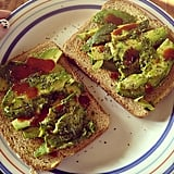 Everyone on the Fit team can attest to this amazing snack: avocado, sea salt, pepper, Tapatio, and whole grain toast. Source: Instagram User  gabye