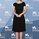 Winona chose a simple yet chic black cap-sleeved dress for her Iceman photocall.