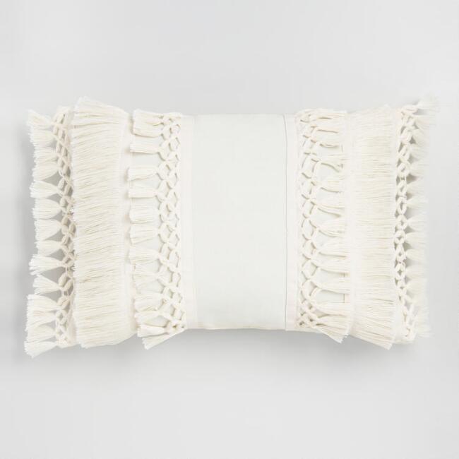 Ivory Fringe Indoor Outdoor Lumbar Pillow