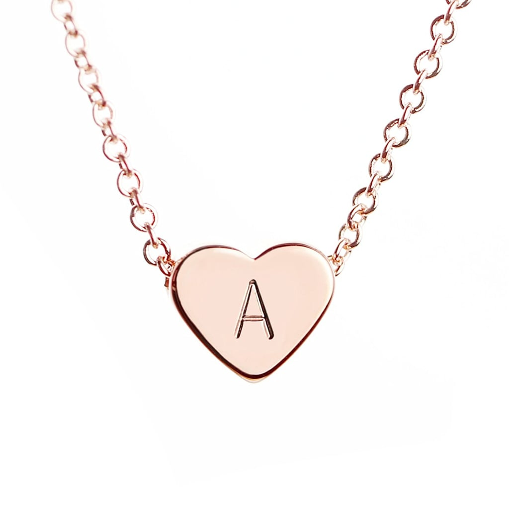 MignonandMignon Rose Gold Initial Heart Necklace