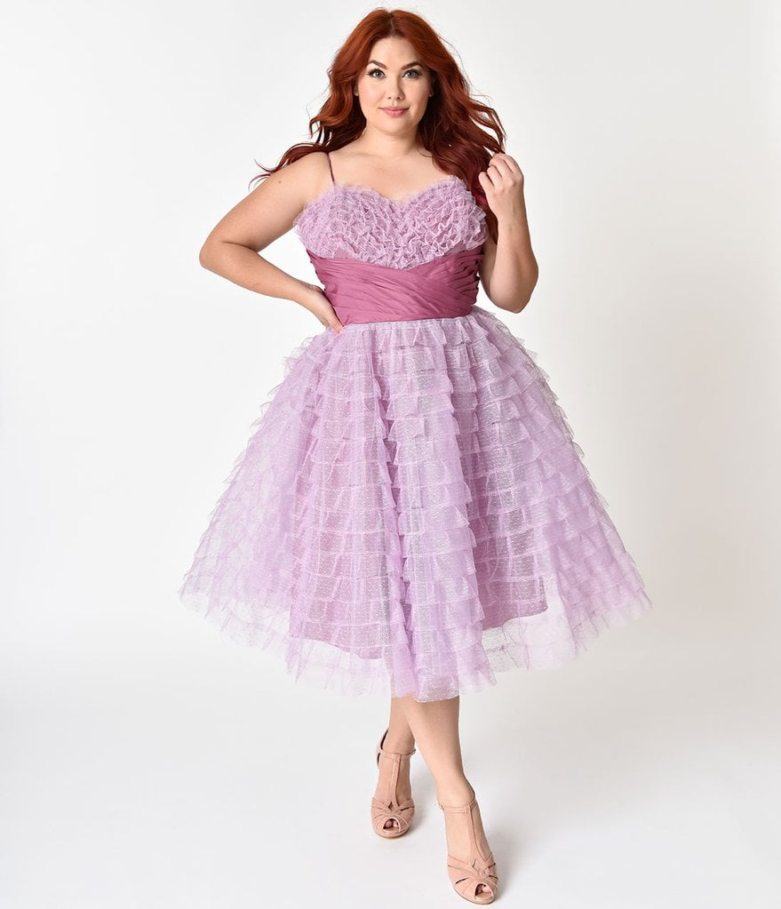 Unique Vintage Curve 1950s Lavender Ruffled Tulle Sweetheart Cupcake ...