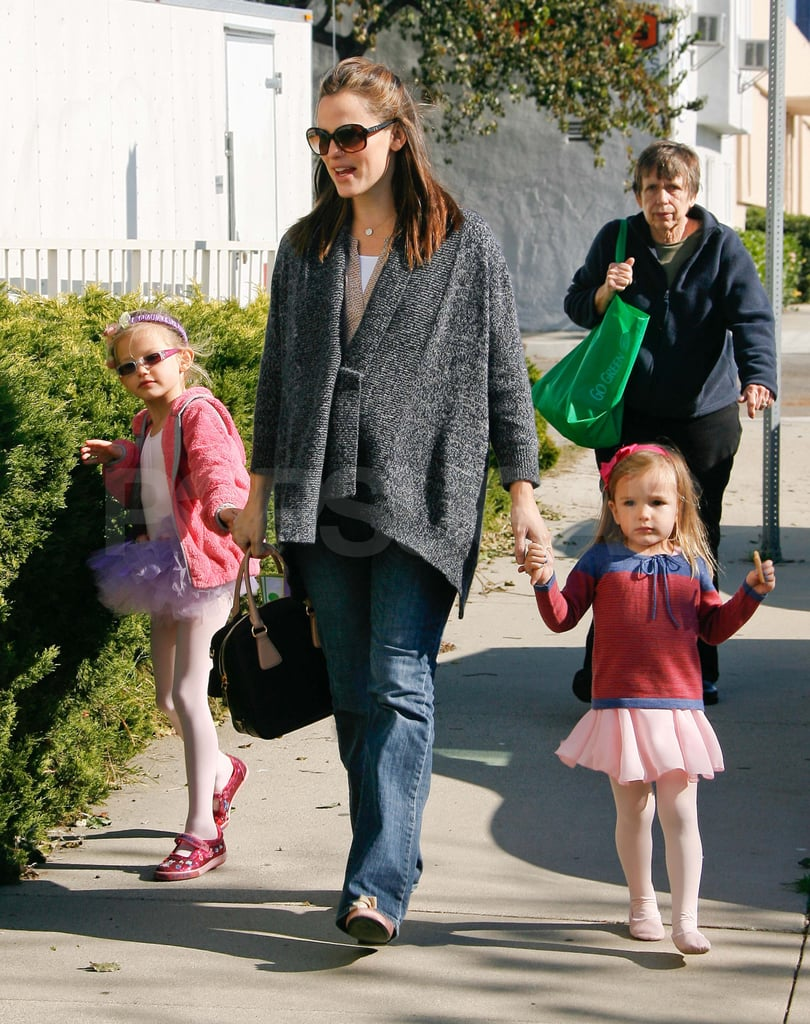 Jennifer Garner's Girls Skip Their Way to Ballet Class