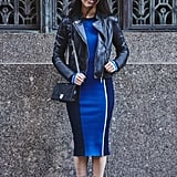 On Assistant Editor Marina Liao: La Ligne dress, Steve Madden boots, and Dior bag