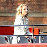 Britney Spears rode a double-decker bus while visiting London.
