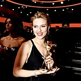 Scarlett Johansson posed with her best international actress award.