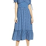 Moon River Tie Sleeve Ruffle Midi Dress