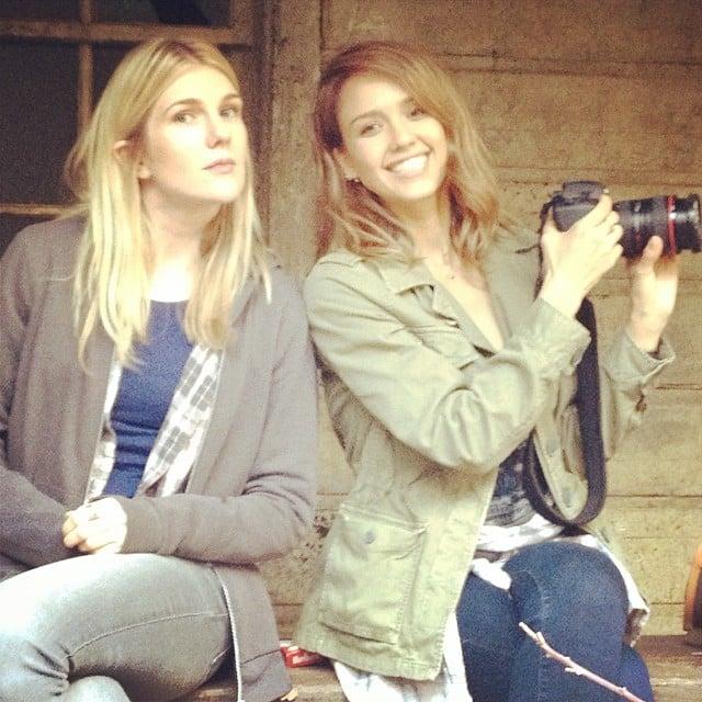 Jessica Alba and Lily Rabe had fun on set. Source: Instagram user jessicaalba