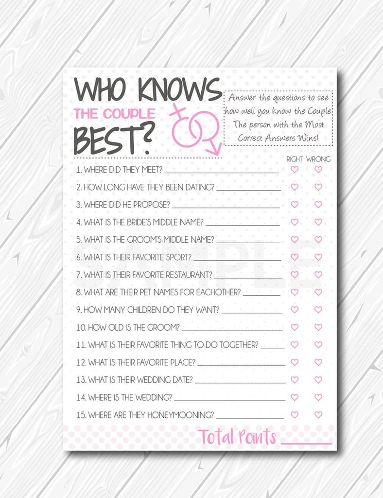 photograph relating to Printable Bridal Shower Games identified as Who Is familiar with the Few Perfect Printable Bridal Shower Match