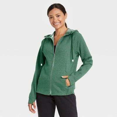 Cotton Fleece Zip Front Sweatshirt