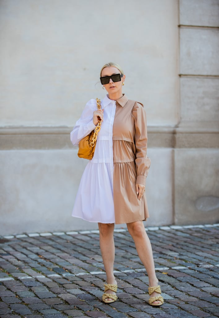Make a two-tone, puff-sleeve dress look fashion forward with oversize, square-shaped shades