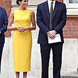 No one was expecting Meghan Markle to step out in such a bold, sunshine yellow shade. She impressed onlookers during the Commonwealth youth reception in this Brandon Maxwell sheath.