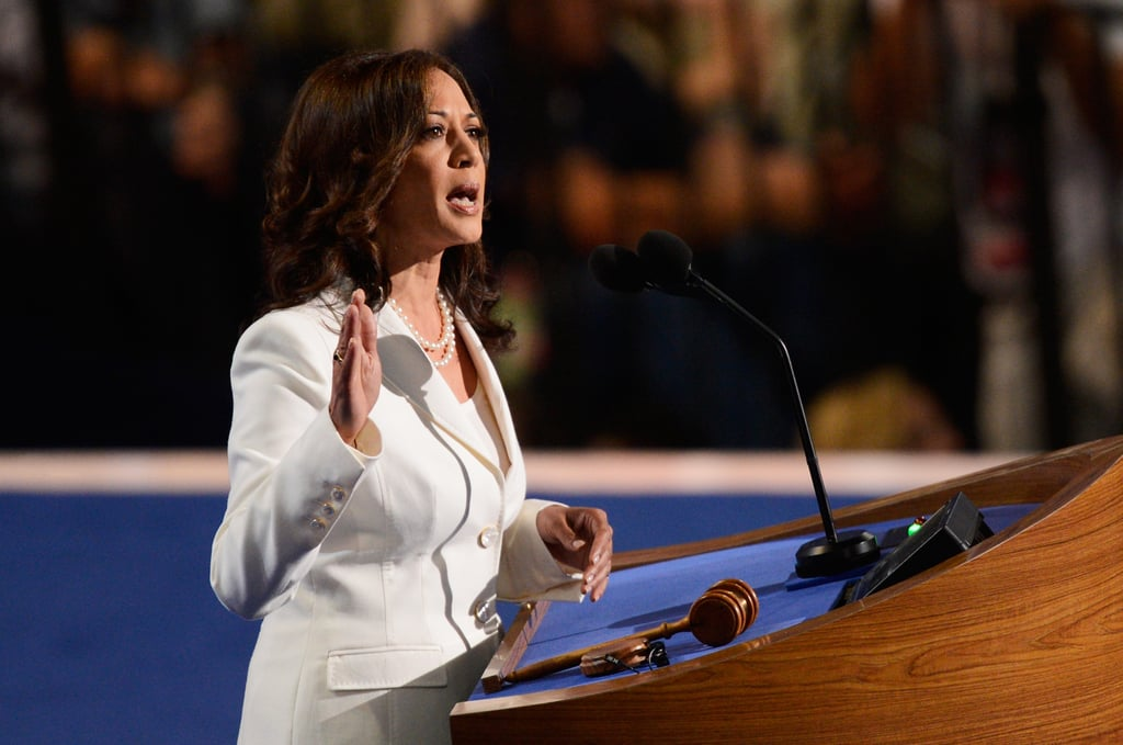 Kamala wore white at the DNC in 2012, which officially nominated Barack Obama as the presidential candidate for the second time. She needed little more than her trusty pearls to complete this ivory pantsuit that came with marble buttons.