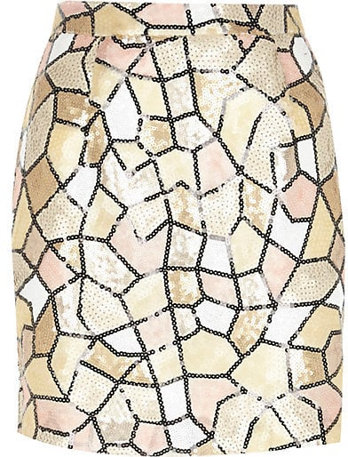 River Island Cream Pattern Mini Skirt