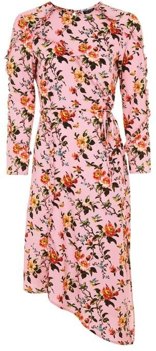 How would we wear this floral ruffled midi dress ($95)? With a pair of jeans!