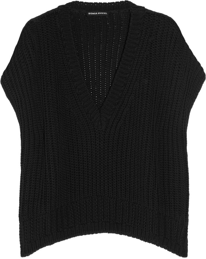 We love the classic ease of this v-neck black sweater.  Sonia Rykiel Ribbed Cotton Sweater ($695)