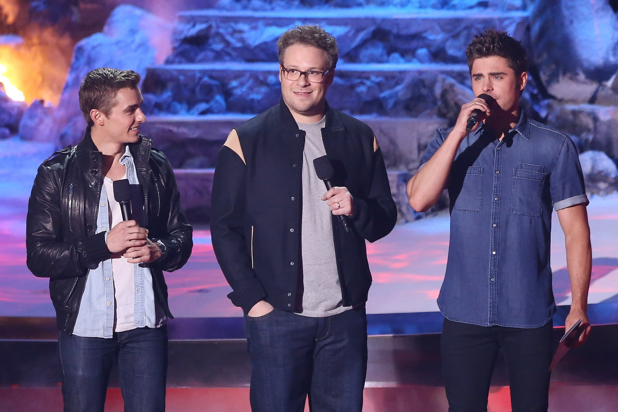 Dave Franco, Seth Rogen, and Zac Efron, stars of the upcoming comedy Neighbors, gathered on stage for a sketch.