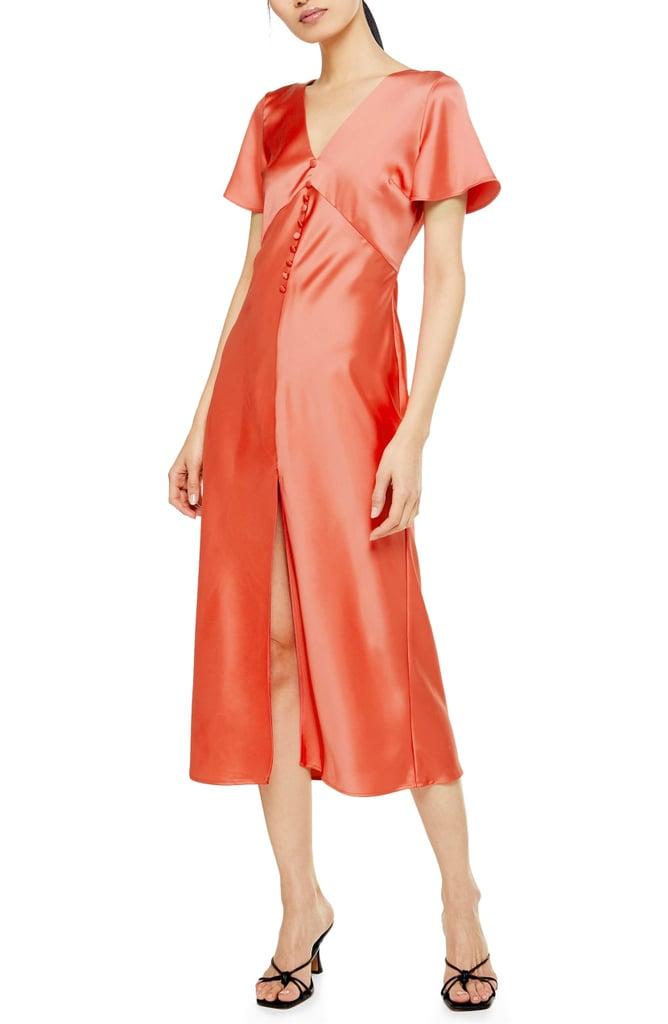 Topshop Angel Sleeve Bias-Cut Satin Midi Dress