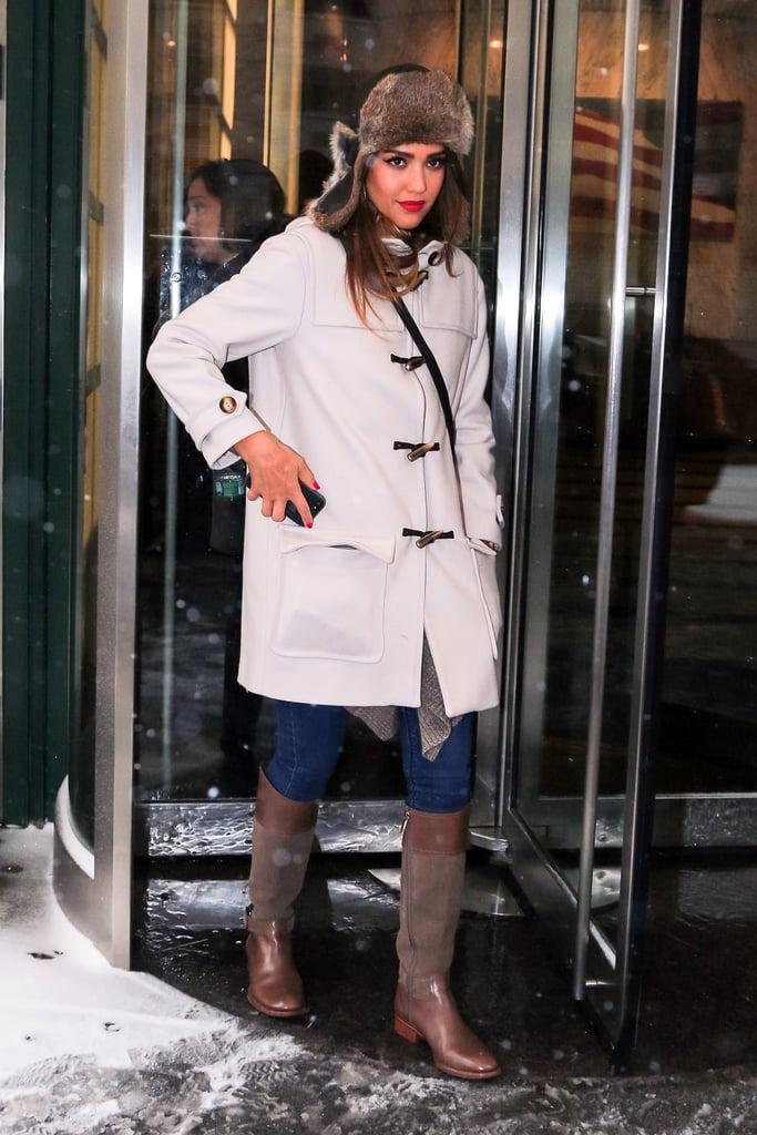 Jessica Alba in Fur-Trimmed Trapper Hat