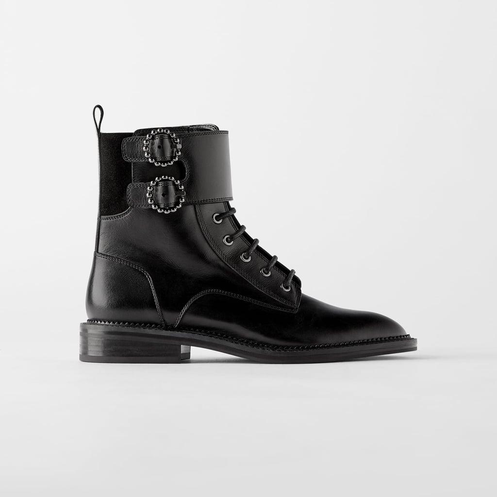 zara black buckle boots online shop