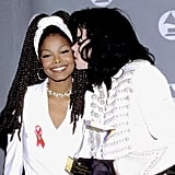 He planted a kiss on his sister Janet's cheek at the 1993 Grammy Awards in LA.