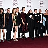 Winners at the prestigious 2012 British Fashion Awards — including Alexa Chung, Cara Delevingne and Stella McCartney — lined up for the media at the end of the ceremony on November 27.