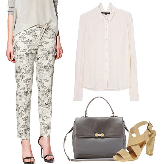 For a more informal interview, don't over think it. Opt for a pair of slim-fit trousers in a subtle play on the season's prints. Add in your go-to button-down and a pair of walkable heels for a sophisticated, but not overly-dressed look.  Theyskens' Theory Bewma Blouse ($405), Asos Heart Leather Heeled Sandal ($99), Marc by Marc Jacobs Top Handle Leather Satchel ($745), Zara Flower Print Trousers ($80)
