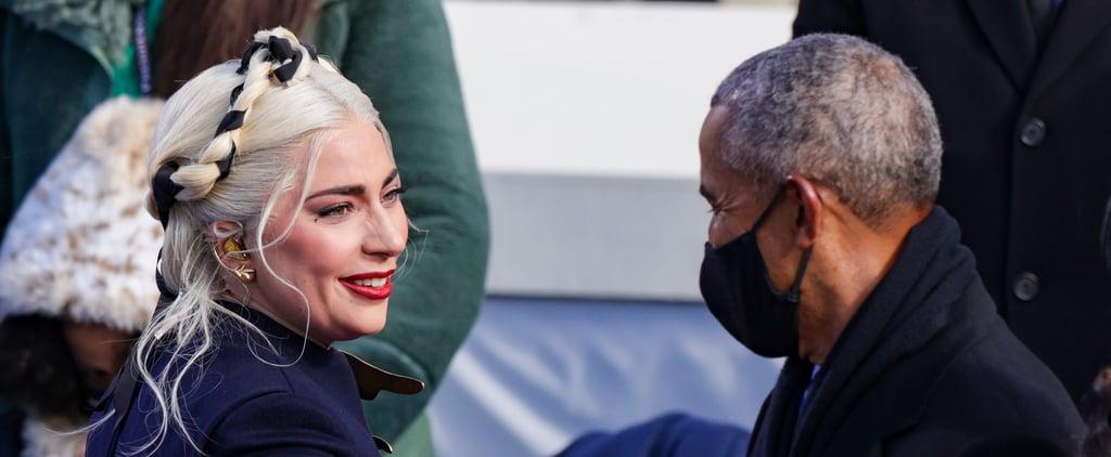 Barack Obama and Lady Gaga Hug and Chat at the Inauguration