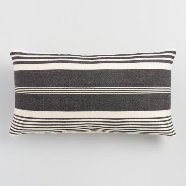 Oversized Black and White Striped Indoor Outdoor Lumbar Pillow