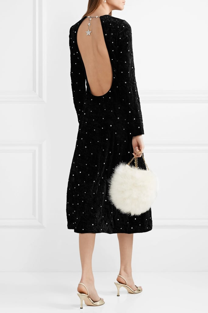 Miu Miu Open-Back Crystal-Embellished Crushed-Velvet Midi Dress