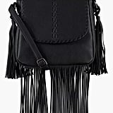 Boohoo Lisa Whip Stitch & Fringe Crossbody Bag
