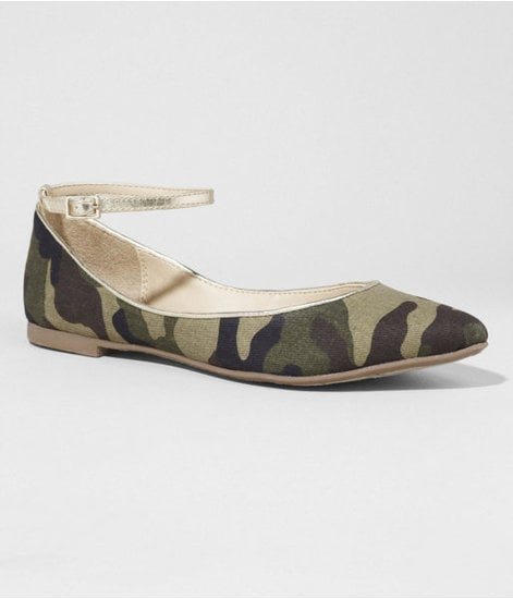 These Express pointed-toe ankle-strap flats make it easy to do camo with a more sophisticated twist.