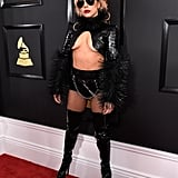 Lady Gaga showed up at the 2017 Grammys wearing a risky black leather look by Alex Ulichny.