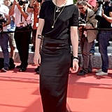 Kristen Stewart accessorised her all-black look with layered necklaces at the American Honey premiere.